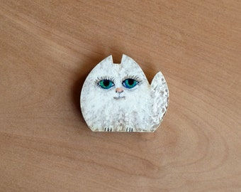 Cat Magnet, Kitty magnet, OOAK magnet, Mini card included, Wild cat, Cute Magnet, Hand painted Cat,