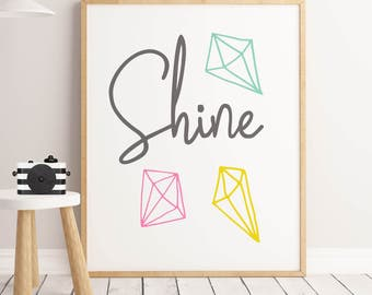 Shine Bright Like A Diamond Motivational Print SALE Positive Quotes Typography Wall Art Inspirational Quote Print Brush Lettering Wall Decor