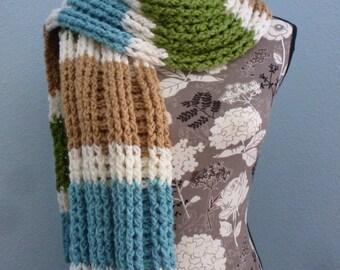 Chunky scarf, Crochet scarf stripes