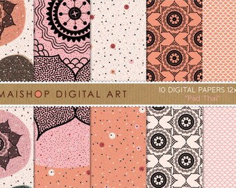 Digital Paper 'Pad Thai' Orange, Pink, Cream and Black Flowers, Polka Dots, Fish Scales... for Scrapbooking, Invitations, Paper Crafts...