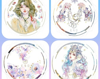 Washi tape sample 50cm: Girls, people, galaxy, mermaid, gold foil, make-up,hands, gemstones,mythical,fantasy, stars,clouds, ocean, wide tape