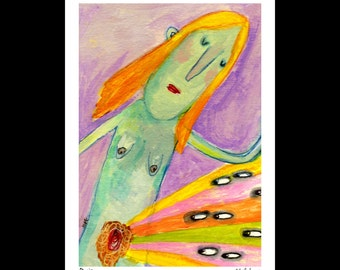 Desire - Art Print, signed & matted, outsider art giclee print, nude, naked illustration print by Murphy Adams
