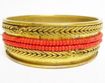 Miriam Haskell Brass Red Beaded Bangle Bracelet