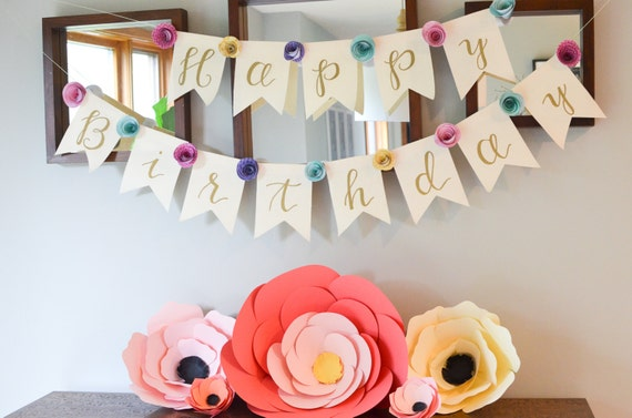 spiral paper flower banner custom colors