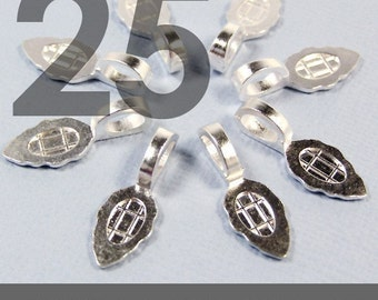 GENUINE AANRAKU Medium size - 25 Sterling Silver Plated Bails - Perfect for Scrabble Tile, Glass and Resin Pendants
