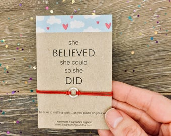 She Believed Wish Bracelet, Inspirational Friendship Bracelet, Graduation Gift, Promotion Wish Bracelet, Belief Gift Card, Friend Wish