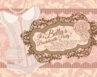 Bachelorette Party Invitation, Lingerie Shower, Corset Invitation, Burlesque Invitations