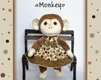 monkeу pdf pattern, PDF Plush monkeу, stuffed monkeу, Soft Animal, Animal toy, сloth toy