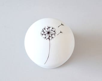 Dandelion Knobs, Drawer Pulls, Dresser Knobs, Handles, Monochrome, Furniture Knobs, Cupboard Handles.