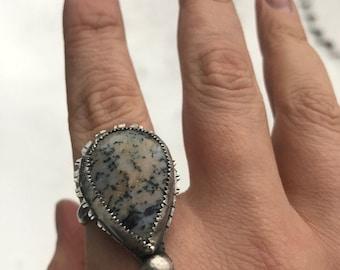 Honey Dendritic Opal Statement Ring