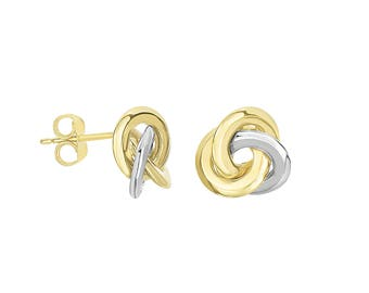 14K Gold Two Tone 3 row Trinity Love Knot Earrings 11.1mm Stud Earrings Women's Jewelry Birthday Gift Anniversary Love And Friendship Bridal