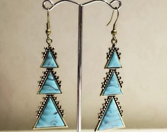 Triple Triangle Turquoise Earrings, Vintage Earrings, Vintage Jewelry