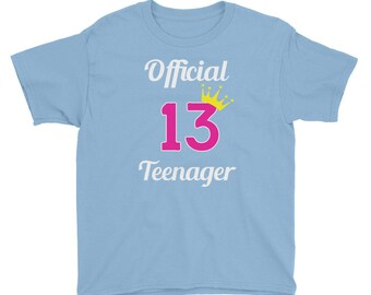 Youth Girls 13th Birthday Official Teenager T-Shirt / Cute Teen Girl Shirt / Birthday Shirt for Teenagers / Princess Pink Birthday Tee