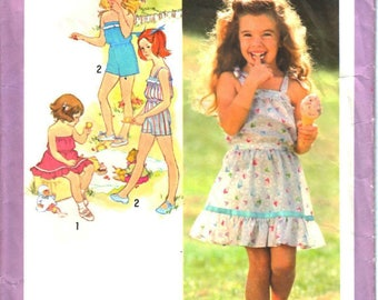 Simplicity 9407 Girl Two-Piece Summer Two-Piece Dress and Playsuit or Romper, Shorts, Skirt, Top Sewing Pattern Size 5 Vintage 1980s