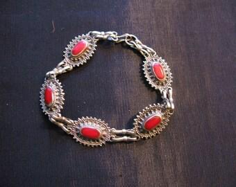 Red Enamel Bracelet Vintage Unmarked