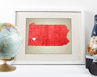 Pennsylvania | State Map Art Print, Custom State Map, State Map Print, Home State Map, Art Print, Pennsylvania State Map Art Print, PA Map