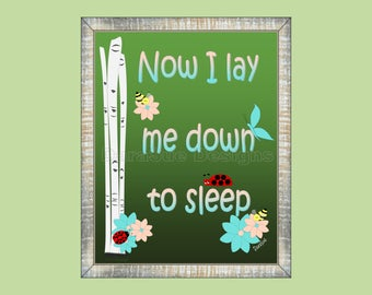 Now I Lay Me Down to Sleep Woodland Bedtime Prayer Wall Art Decor for Kids Room or Baby Nursery,  Print Only (WNow01)