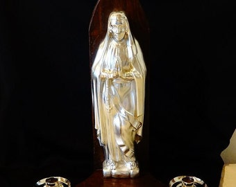 Ancient Virgin Mary Altar Statue. Antique Silver-Plated Bronze God's Mother Shrine. Genuine Sanctuary, Madonna Presbytery, Old Prude Altar