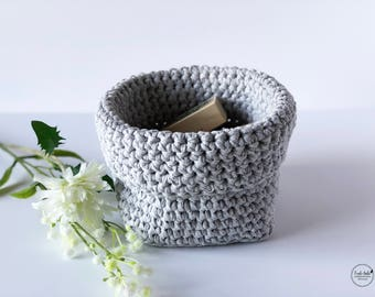 storage basket - ecofriendly - recycled cotton - baskets - organization basket - grey - grey basket - storage solution - handmade - square
