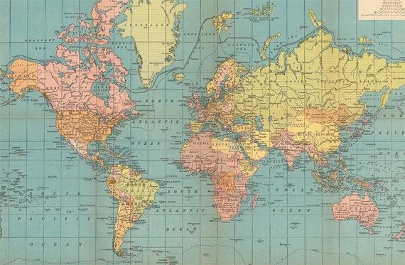 World map printable digital download 1930 vintage world map world map printable digital download 1930 vintage world map old world map with flags instant digital downloadintable mapp digital gumiabroncs Gallery