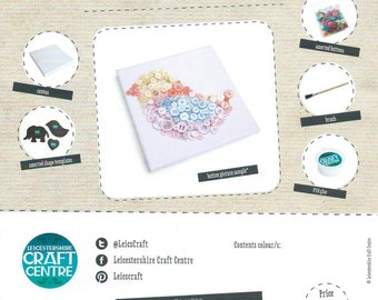 Button Art Kit - Children's Craft Kit - Beginners Craft Kit - Kids Art Kit, DIY Crafts, Gift, Button Picture, Templates Materials & Tools