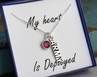 Army Wife- Deployment necklace - Sterling Silver Chain - Army Military - My Heart is Deployed