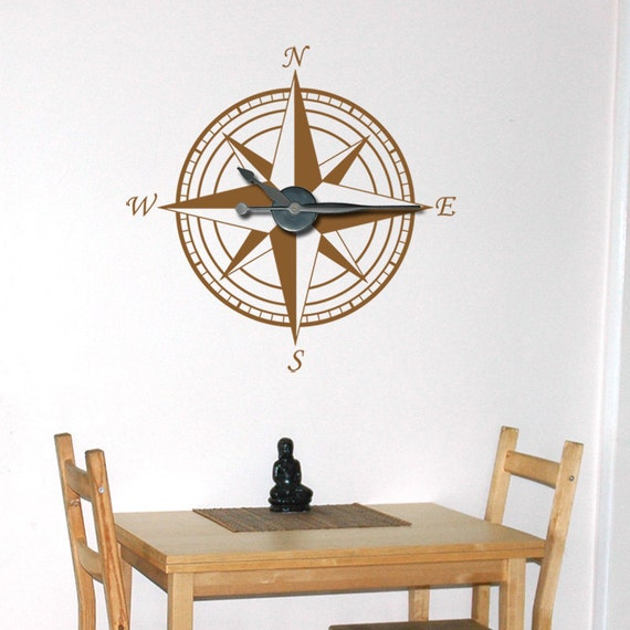 Large Compass Clock Vinyl Wall Art & Clock Kit