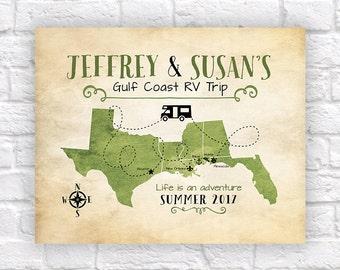 Custom RV Travel Map, Retirement Gift, Van Living, Motor Home, Gulf Coast Travel, Texas, Louisiana, Florida Map, Winnebago, Camper, FL WF534