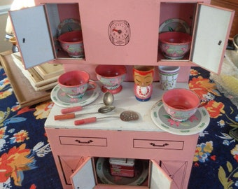 Mid Century Kitschy Wolverine Pink Tin Toy Cupboard Hoosier Cabinet w/Vintage Toy Ohio Art dishes and Accessories