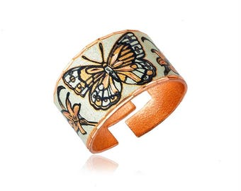 Butterfly design handmade copper ring-adjustable so fits every finger, lightweight, soft