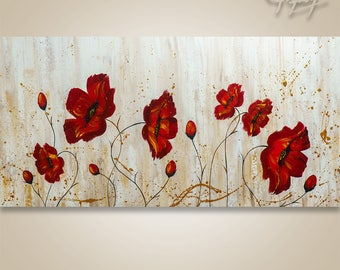 Abstract Painting, Tree Painting, textured Painting, Landscape Painting, Abstract Wall art, Wall Decor, Large Abstract painting Poppies Red