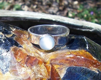 Moonstone and Sterling Silver Handmade Size 7 1/2