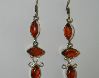 Free Shipping, Silver Amber Earrings, 925