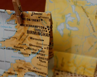 Map Paper Gift Bags (Set of 10)