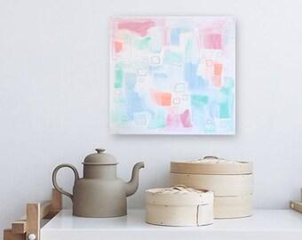 "SALE - pastel texture painting  - modern boho decor - 12""x12"" acrylic on canvas - contemporary fine art - geometric - nursery - girls"
