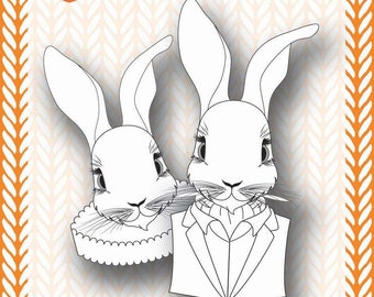 Mixed Media Templates ~ White Rabbit Portrait - Paperbabe Stamps - For mixed media, paper crafting and scrapbooking.
