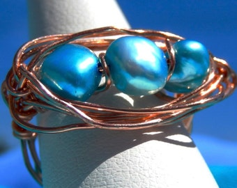 Freshwater Pear and Copper Ring. LATOYA. Turquoise Blue Wire Wrapped in Solid Copper. size 8