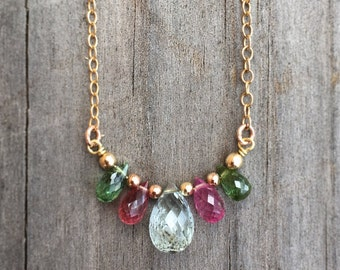 Multicolours tourmaline crystal necklace- tear drop tourmaline crystals with gold filled finding and chain- October birthstone- October gift