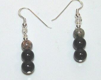 Onyx and Jasper Earrings