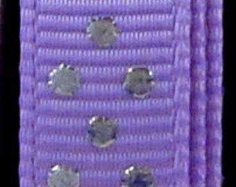 """2 Yards 3/8"""" Orchid - Lilac with Silver Foil Swiss Dot Print - U.S. Designer"""