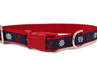 Nylon Buckle Dog Collar - Anchors Aweigh - 3/4 Inch