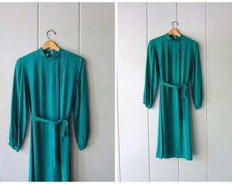 90s SILK Shirt Dress Minimal Sheath Dress Long Green Silk Dress Kimono Modern 80s Long Sleeve Casual Dress Sash Tie Womens Small Medium