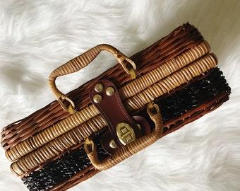 Wicker Picnic Basket, Suitcase, Boho Wicker, Wicker Handbag, Bohemian Fashion