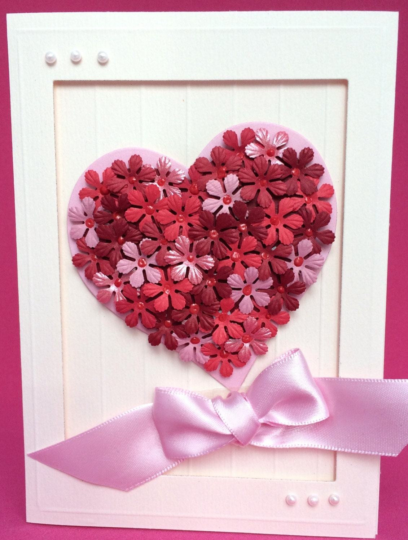Flowered heart 3d card handmade card birthday card zoom kristyandbryce Choice Image