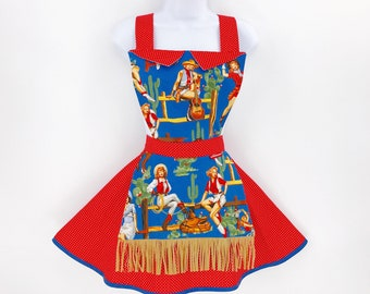 Cowgirl Pinup Apron - Womens Full Retro Sassy Cute Pinup Apron