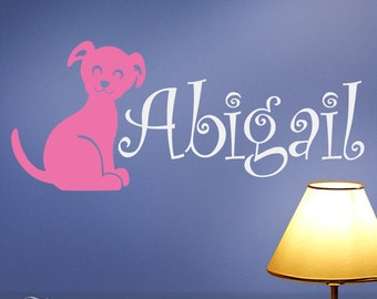 Vinyl Wall Decal: Childrens Custom Name Decal with Puppy Dog for Kids rooms, Nursery Wall Decor (01711b8v)