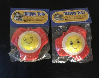Happy Tots 1960s Hanging Baby Rattles Decorations with Faces