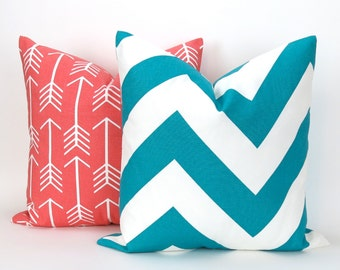 Throw Pillow Cover Set of TWO, Coral & Turquoise Accent Pillows, Cushions, Decorator Pillow -MANY SIZES- Arrow Zippy by Premier Prints