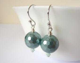 Turquoise Earrings, Blue Dangle Earrings, Sterling Silver, Shell Pearl Earrings, Bridal Jewellery, Bridesmaid Gift, Gift for Her