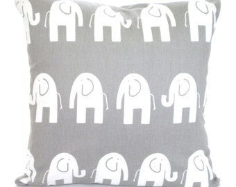 Gray Elephant Pillow Covers, Nursery Pillows, Childrens Throw Pillow, Cushion Covers, Grey Elephants, Baby Cushions, One or More ALL SIZES